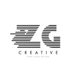 zg z g zebra letter logo design with black and vector image