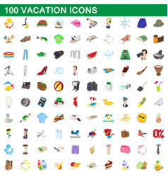 100 vacation icons set cartoon style vector image vector image