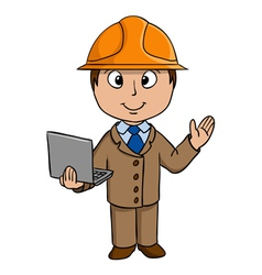 Cartoon engineer with notebook vector image
