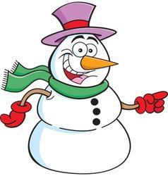 Cartoon Pointing Snowman vector image