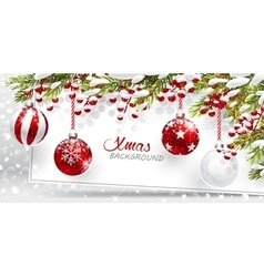 Christmas red balls with snow covered fir branches vector image