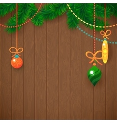 Decorated Merry Christmas Tree Branch Happy New vector image vector image