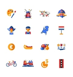 Flat design Holland travel icons infographics vector image vector image