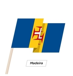 Madeira Ribbon Waving Flag Isolated on White vector image vector image
