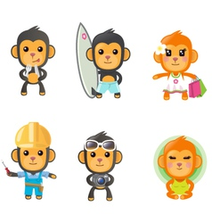 monkey activity set vector image vector image