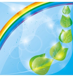 Spring eco background with fresh leaves and vector image vector image