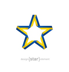 star with Ukraine flag colors vector image