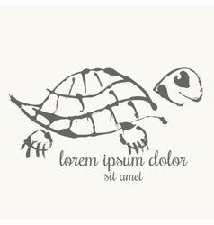 Turtle hand drawn Logo template vector image