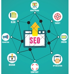 Abstract concept of seo process vector image vector image