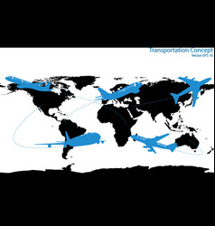 airplane travel around the world vector image
