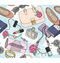 Cute seamless fashion pattern for girls or woman vector image vector image