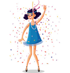 flapper party girl from the roaring 20s retro vect vector image