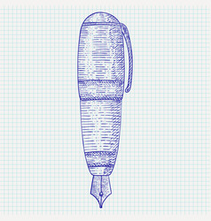 fountain pen hand drawn sketch vector image vector image
