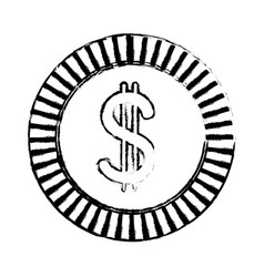 sketch coin currency money cash icon vector image