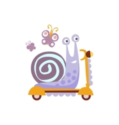 Snail Riding A Scooter Stylized Fantastic vector image vector image