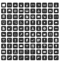 100 building materials icons set black vector