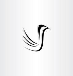 black bird icon stylized vector image