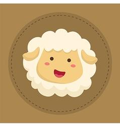Cute Sheep Smiling in Brown Circle vector image