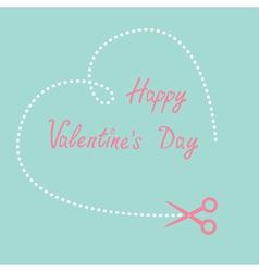 Dash heart and scissors happy valentines day vector