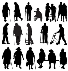 elderly silhouettes vector image vector image