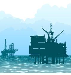 Oil rigs at sea vector