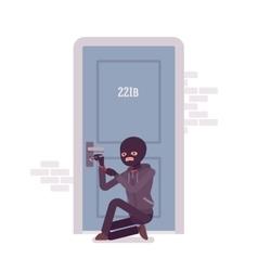 Thief ineffectually lockpicking the door vector