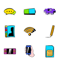 wi fi icons set cartoon style vector image