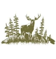 Woodcut Moose Design vector image vector image