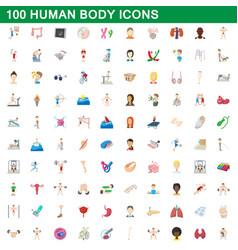 100 human body icons set cartoon style vector