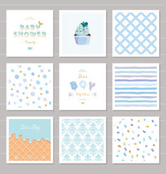 Boy baby shower templates seamless patterns set in vector