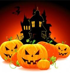 castle with pumpkins vector image vector image