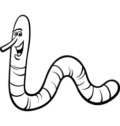 earthworm cartoon coloring page vector image vector image