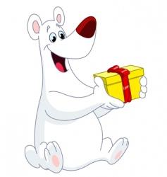 polar bear Christmas gift vector image