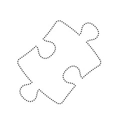puzzle piece sign black dotted icon on vector image