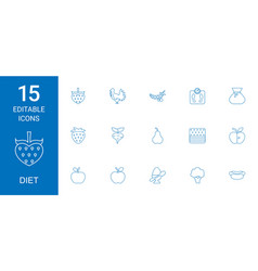 15 diet icons vector