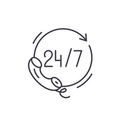24 hours support line icon concept 24 hours vector image