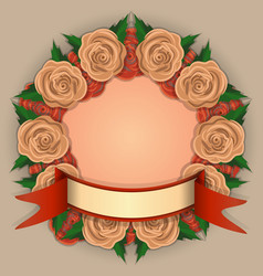 4 round frame of yellow and red roses vector image