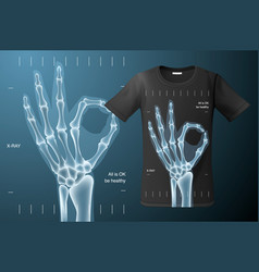 all is ok sign x-ray of human hand t-shirt design vector image