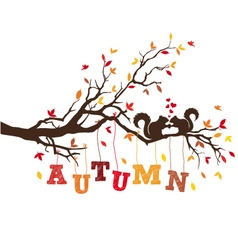autumn tree with squirrels vector image