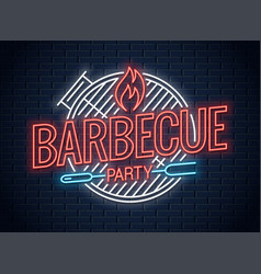 Barbecue grill neon logo bbq neon sign on wall vector