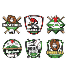 Baseball league sport club and team badge icons vector