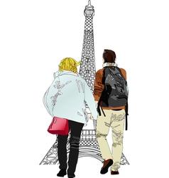 Boyfriends under the Eiffel Tower vector