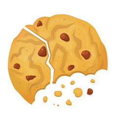 broken cookie icon crispy baked round cake vector image