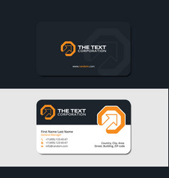 Business cards octagon and up arrow yellow color vector