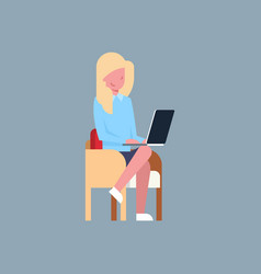 business woman sit using laptop computer female vector image