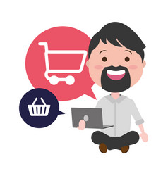 businessman using laptop with ecommerce icons vector image