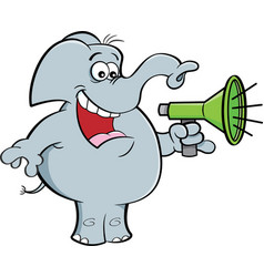 Cartoon elephant holding a megaphone vector