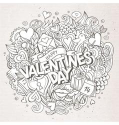Cartoon hand drawn Doodle Happy Valentines vector image