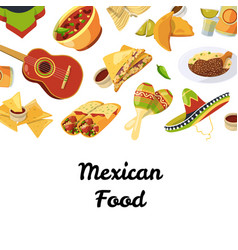 Cartoon mexican food background vector