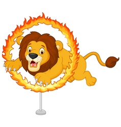 Cartoon tiger jumps through ring of fire vector